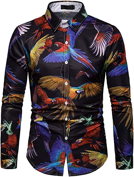 Versaces Leisure Camisa de Manga Larga para Hombre, impresión de Loro de Cola Larga, XXL, Color1: Amazon.es: Deportes y aire libre