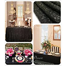 SoarDream Black Sequin Tablecloth 50x80 inch Rectangle Polyester Tablecloth Table Cover Wedding Restaurant Party Banquet Decoration