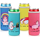 Slim Can Cooler Sleeves (4 Pack) for 12 Oz Drinks and Beers, Skinny Can Coolies for White Claw and Michelob Ultra Cans, Soft
