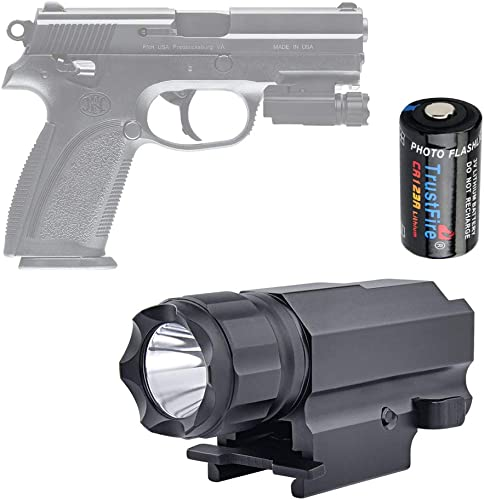 TrustFire P10 Pistol Light Compact Tactical Gun Flashlight 210 Lumen Weapon Mounted Light for G17 19 21 22 30 43 48 and Picatinny Rail