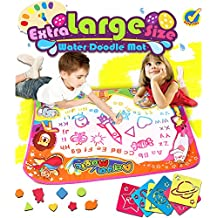 Water Drawing Mat Doodle Colorful Extra Large Size 34.6 X 22.8 Inches for Kids Doodle Learning Toy Educational Boys Girls Gift Included Draw Templates with 2 Magic Pens