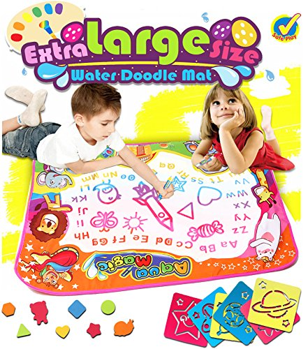 Water Drawing Mat Doodle Colorful Extra Large Size 34.6 X 22.8 Inches for Kids Doodle Learning Toy Educational Boys Girls Gift included Draw Templates with 2 Magic Pens (Large Grass Mats)