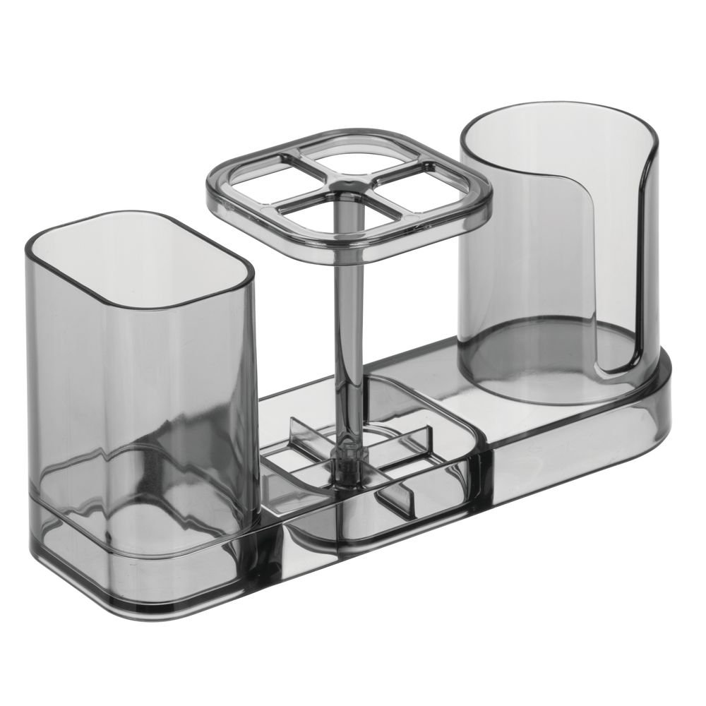 iDesign InterDesign Med Bathroom Toothbrush and Toothpaste Stand/Holder Organizer with Disposable Cups-Smoke Dental Center,