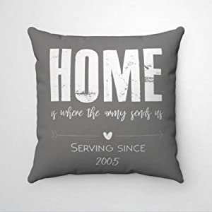 DONL9BAUER Home is Where The Army Sends Us Premium Throw Pillow Cover,Military Marine Air Force Coast Guard Present Decorative Pillow,Modern Cushion Cover for Indoor Bedroom,Sofa,Living Room,Car.
