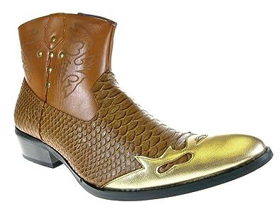 4c6a4da5866 Alfa Men's M1794 Short Westren Cowboy Boots Faux Snake Skin