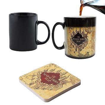 Mapa del Merodeador de Harry Potter Magic que cambian de Color negro taza de café con sensibles al calor libre coaster- perfecto San ...