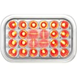 Grand General 77183 Red Rectangular Pearl 24-LED Stop/Turn/Tail Sealed Light with Clear Lens