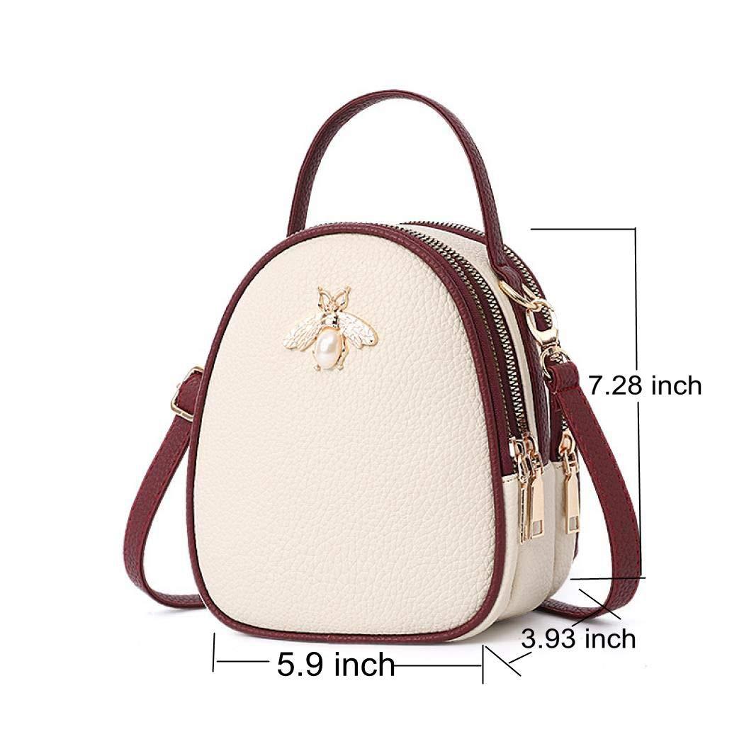 aac520ec5e Amazon.com  Vistatroy Mini Backpack Genuine Leather Small Bee Bag Purse  Handbag Shoulder Bag for Daily Work Hiking Travel School (Beige)  Garden    Outdoor