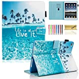 iPad 9.7 inch 2018 2017 Case/iPad Air Case/iPad Air 2 Case, Dteck PU Leather Folio Smart Cover with Auto Sleep Wake Stand Wallet Case for Apple iPad 6th / 5th Gen,iPad Air 1/2, Beach Live it