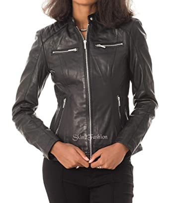 57fbb744966 Womens Leather Jacket Stylish Motorcycle Biker Genuine Lambskin 225 XS  Royal Blue