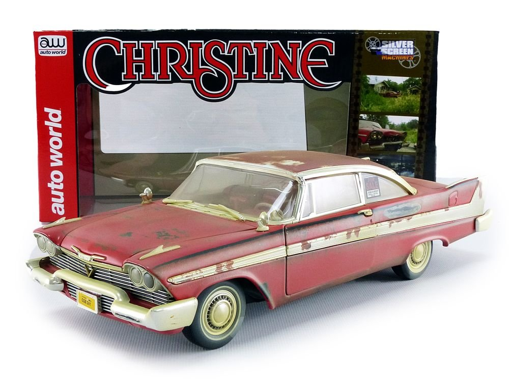 Auto World-Miniature Car Dirty Version Christine 1958Plymouth Fury 1/18Scale, awss119, Red/White by Auto World (Image #6)