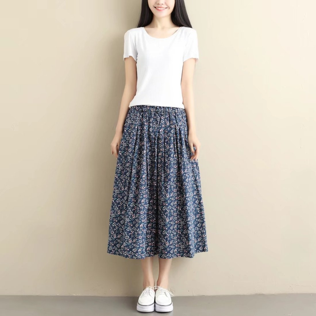 Aza Boutique Girls Fashion Cotton Loose Style Floral Ankle Length Skirt