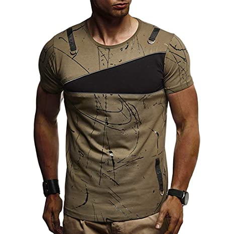 Amazon.com: YKARITIANNA Fashion 2019 Summer Mens Casual Slim Splicing Printed Short Sleeve T Shirt Top Blouse: Arts, Crafts & Sewing