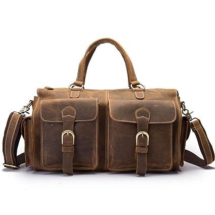 BAACHANG Crazy Horseskin Travel Bag Bolso de hombre Vintage Elegir a mano Bolsa de equipaje diagonal