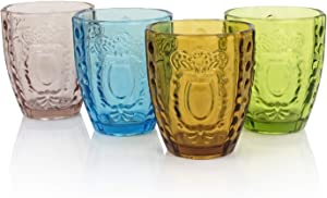 Drinking Glasses Set of 4, Colored Premium Heavy Glassware, 12OZ Multicolor Glass Tumbler, Christmas Decorations Gift for Home