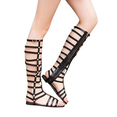 RAISINGTOP Ladies Women Summer Knee Length Boots Sandals Zipper Platform Roman de Mujer Shoes Zip up Flat Dressy New