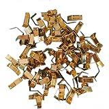 Lot de 100 attaches doré brillant 40 x 8 mm fermoirs tütenverschlüsse beutelverschlüsse bodenbeutel clips de fermeture renforcé