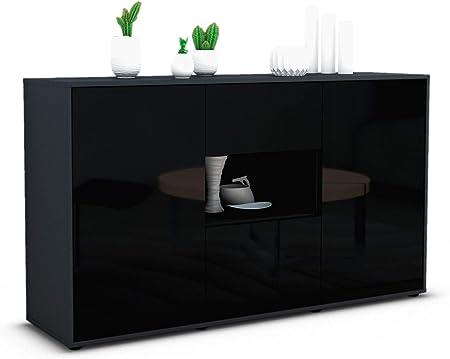 Stil.Zeit Sideboard Elettra//Korpus anthrazit matt//Front Rost Industrie-Design 180x79x35cm Push-to-Open Technik /& Leichtlaufschienen
