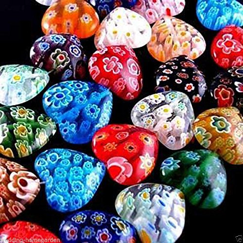 8mm Millefiori Glass - FidgetFidget 8mm Multicolor Heart Millefiori Shining Glass Craft Beads Wholesale 100 Pcs