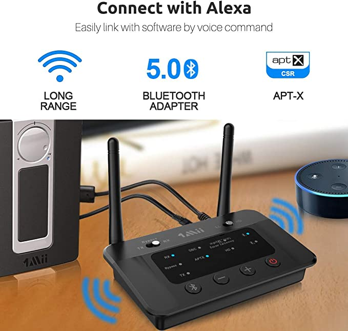 1Mii - Receptor de transmisor Bluetooth de Largo Alcance para TV, PC, estéreo, con aptX de Baja latencia, Sonido HiFi y NFC, RCA óptico AUX 3,5 mm, Rango de Bluetooth de 230