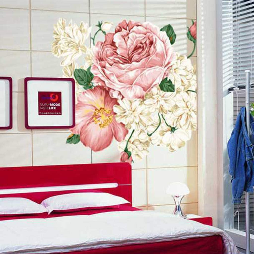 1 X Wall Sticker Weisfe78 Peony Rose Flowers Wall Stickers Art Decal Mural Decals Decor Affixed with Decorative for Home Office Shop Living Room Furniture Bedroom Window Glass Door Decoration