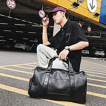 Setrouyo Travel Bag Male Business Travel Bag Large Capacity Short-Distance Travel Luggage Sports Fitness Bag Business Shoulder Boss Bag Color : Black, Size : XL