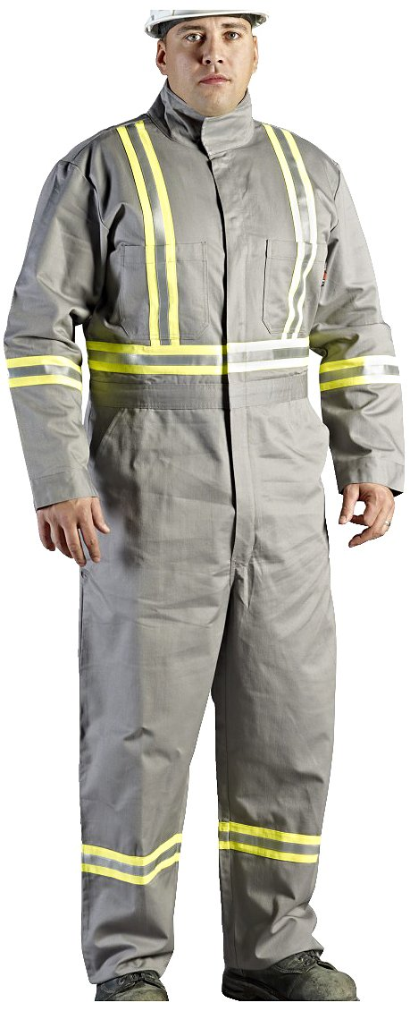 Walls Grey 9-Ounce FR 88/12 Striped Coverall, HRC 2, ATPV, 12.7 cal/cm2, CGSB 155.20, CSA Z462, NFPA 2112, NFPA 70E and ASTM F1506 50R Walls FR C62045GY9 50R