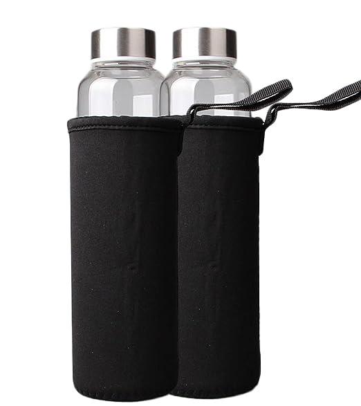 DaoRier Botella de agua de cristal de 360 ml con funda de ...