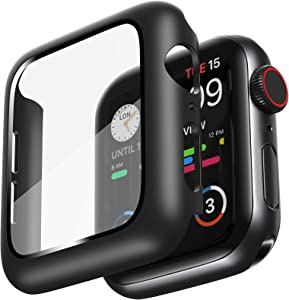AMUTUR Case Compatible with Apple Watch 40mm Series SE 6 5 4 with Built in Tempered Glass Screen Protector , Hard PC Edge Anti Scratch Thin - Protective Bumper Cover Compatible for iWatch 40mm[Black]