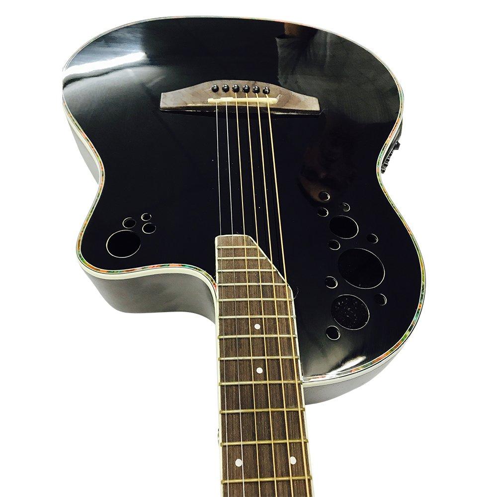 Guitarra eléctrica brillante negro plana (no hojas), de fondo redondo Premier: Amazon.es: Instrumentos musicales