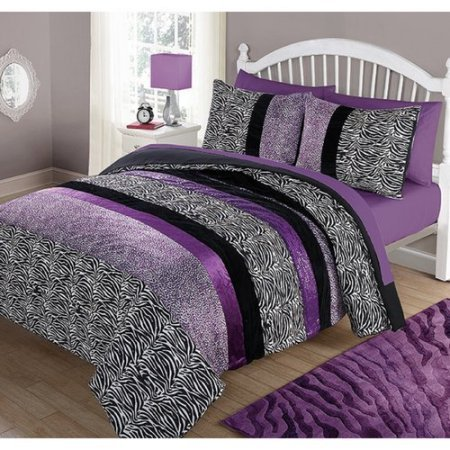 Your Zone Purple Pieced Animal Bedding Comforter Set