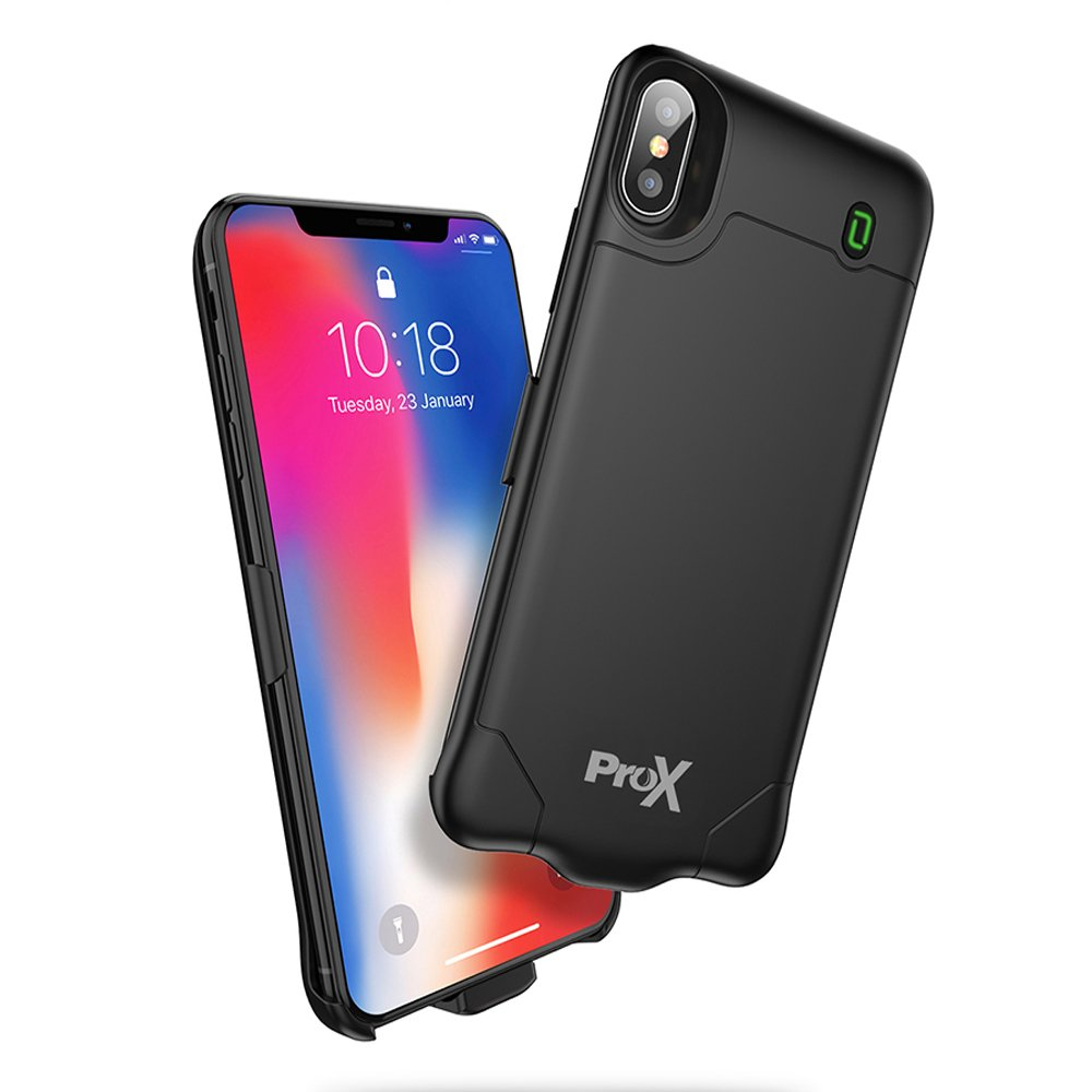 iPhone X Battery Charging Case with Screen protector, 4000mAh Slimmest Charging Case, Compatible with Lightning Headphone & CarPlay, Sync&Charge, Extended Charger Backup case for iPhone X (5.8 inch). ProX iPX-A16