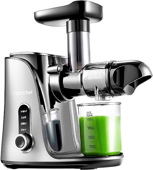 AMZCHEF Licuadora prensada en frío, licuadora de Frutas y Verduras, Extractor de zumos con 2 velocidades, Panel de Pantalla LED, 2 Botellas de Agua(500ML), Cepillo fácil de Limpiar, Gris: Amazon.es: Hogar