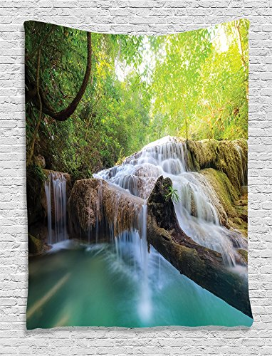 Hanging Cascade - Ambesonne Waterfall Decor Collection, Flowing Water of Erawan Cascade Waterfall at Deep Tropical Rain Forest Image, Bedroom Living Girls Boys Room Dorm Accessories Wall Hanging Tapestry, Grey Green