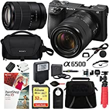 Sony ILCE-6500M/B a6500 4K Mirrorless Camera (Black) with 18-135mm F3.5-5.6 OSS APS-C E-mount Zoom Lens Pro Photograpy Bundle Including Carry Case 32GB SDXC Memory Card and Accessory Package Kit