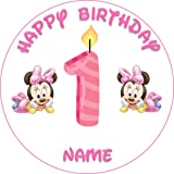 Superb Baby Minnie Mouse 1St Birthday Novelty 7 5 Round Edible Birthday Funny Birthday Cards Online Inifodamsfinfo