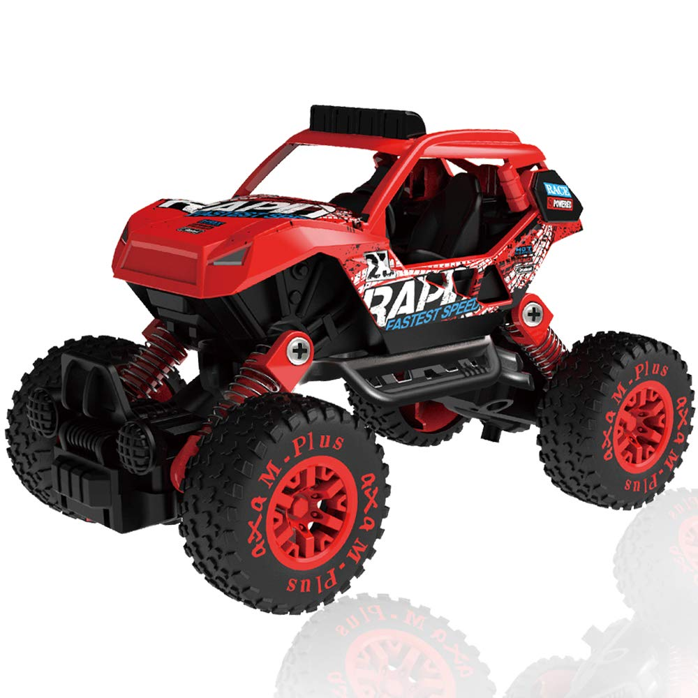 CORPER TOYS Pull Back 4WD Off Road Vehicle 1:32 Scale Pull Back Rock Crawler Monster Truck High Speed Racing Car for Kids Children (Red)