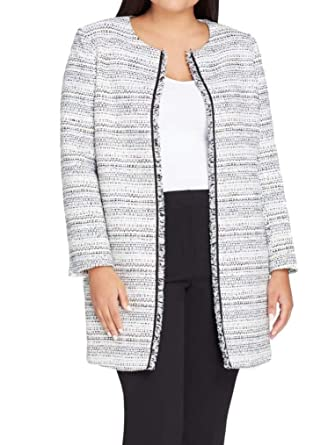 0afa6cecf56 Image Unavailable. Image not available for. Color  Tahari by ASL Women s  Plus Tweed Fray Trim Jacket ...