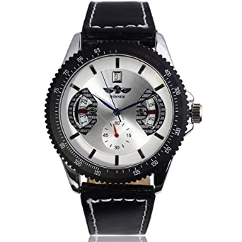 Headsome Mens Skeleton Mechanical Watch Vintage Black Leather Band Male Relojes