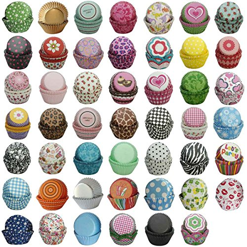 SophieBella 1200 ct mixed 48 Kinds Standard Paper-Baking-Cup Cupcake-Liner Gifts Value Pack