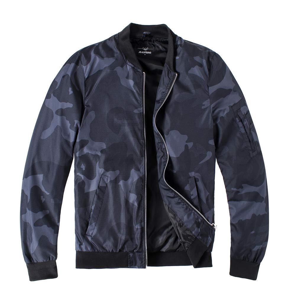 MADHERO Mens Lightweight Bomber Jacket Slim Fit Softshell Windbreaker