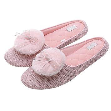 GPFDM Zapatillas De Lana De Punto para Mujer Zapatillas De Algodón Zapatillas De Interior para Mujer Calientes Zapatillas Caseras Tamaño 35-40,Pink,39/40: ...