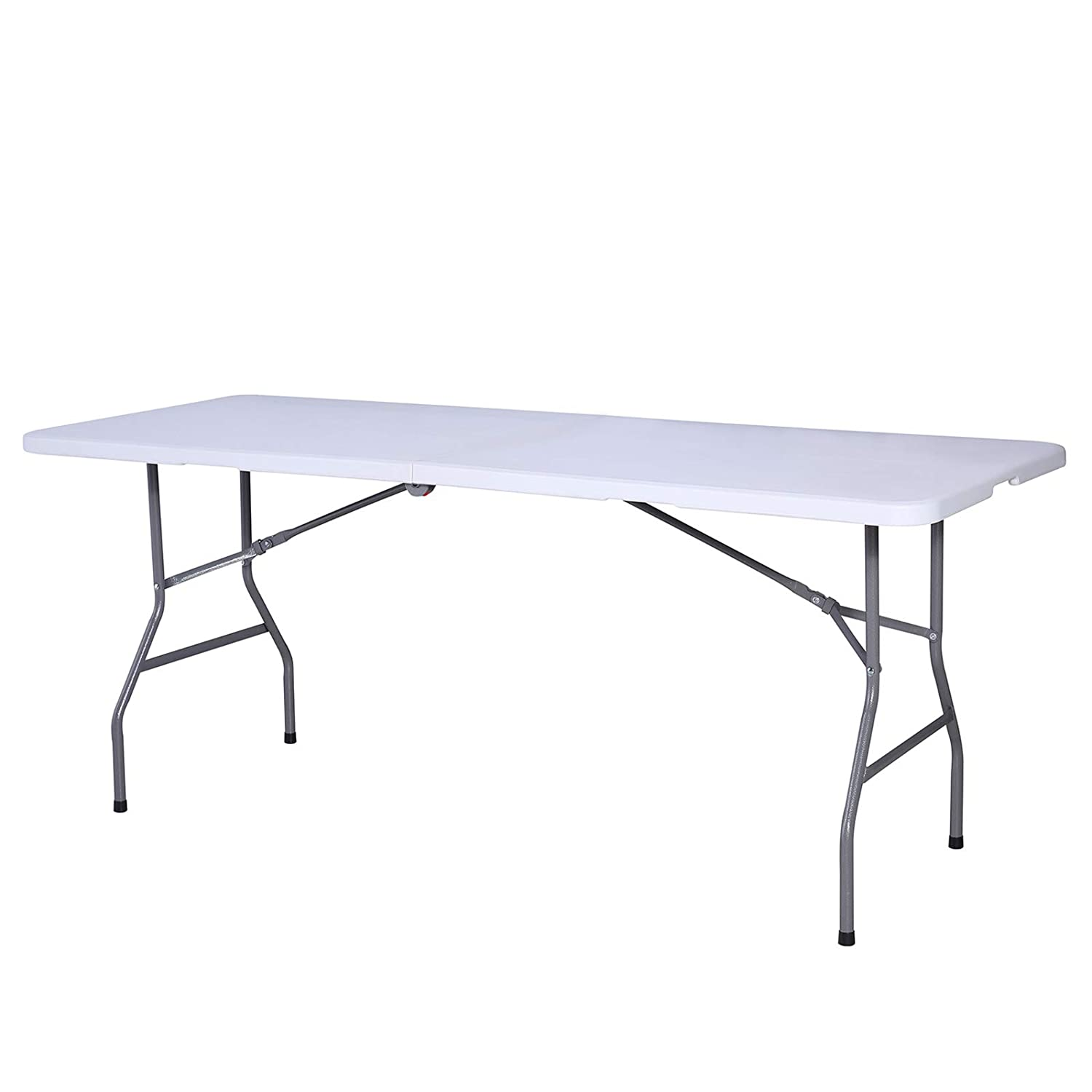 Amazon Com Mecor 6ft Folding Table Portable Plastic Dining Table With Handle And Aluminum Table For Indoor Outdoor Picnic Party Camping White 6 Ft
