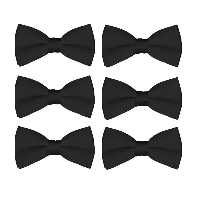 d4e9402b9e66 Men's Bow Tie Wholesale 6 Pack Wedding Ties Pre-Tied Formal Tuxedo Bowties  (Black