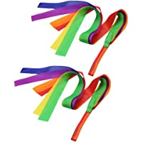 Flameer 2pcs Rainbow Dance Ribbon Children Toy Gym Ballet Streamer Cheerleading Prop