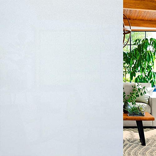 NioeHome Window Privacy Film, Non Adhesive 100 Light Blocking Glass Film for Home,Bathroo,Office,Meeting Room,Living Room and Lounge White 35 4×157.5Inch