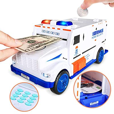 BABOOK - Electronic Kids Money Bank, Cool Armored Car Bank Password Coin Bank Automatic Eat Cash, for Boys Girls: Toys & Games