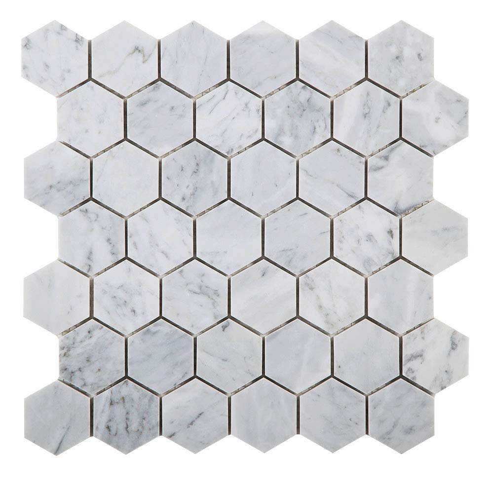 Diflart Carrara Italian White Marble Mosaic Tile 2 Inch Hexagon Polished (Sheet of 5)