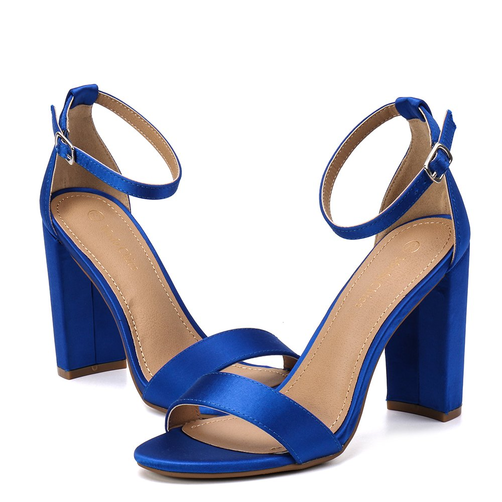 Moda Chics Womens High Chunky Block Heel Pump Dress Sandals