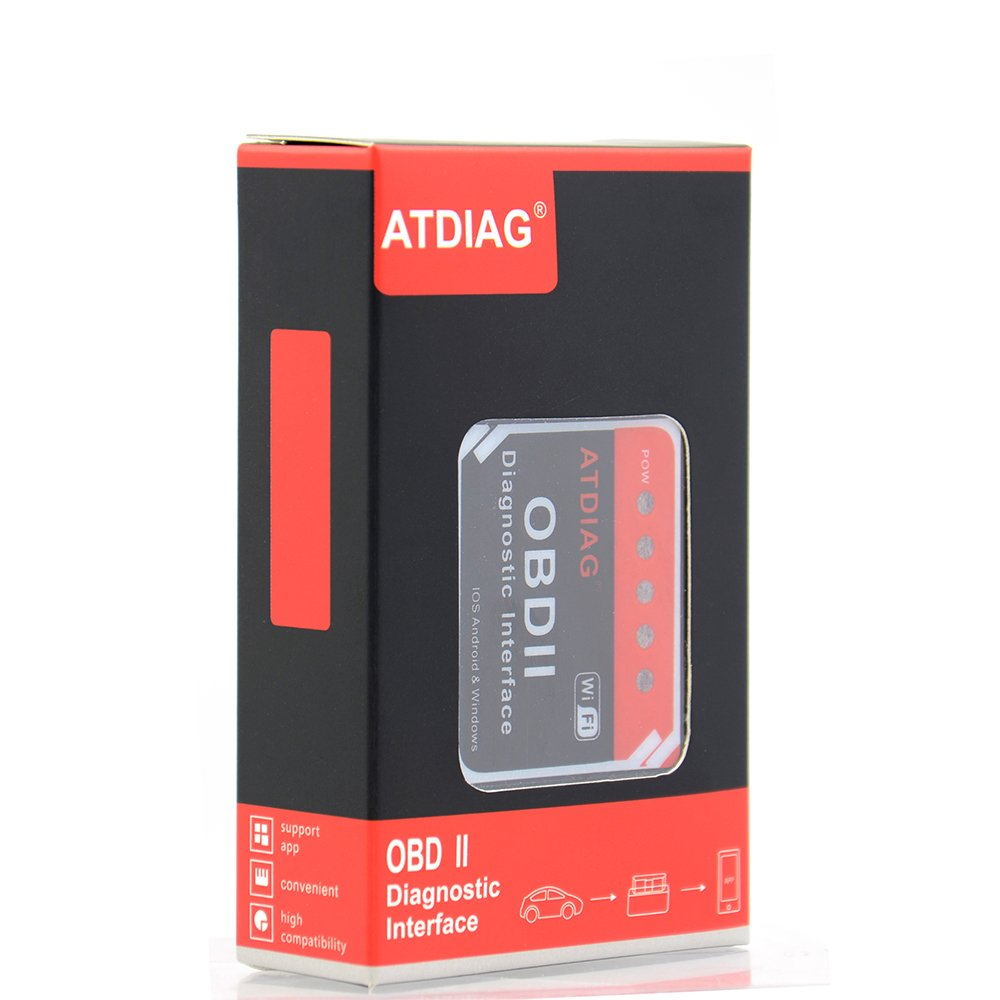 ATDIAG Car WIFI OBD2 Scanner, Wireless OBDII Vehicles Code Reader Scan Tool,OBD2 adapter Check Engine Diagnostic interface for iOS Apple iPhone iPad Andorid Windows (ATI2) by ATDIAG (Image #1)